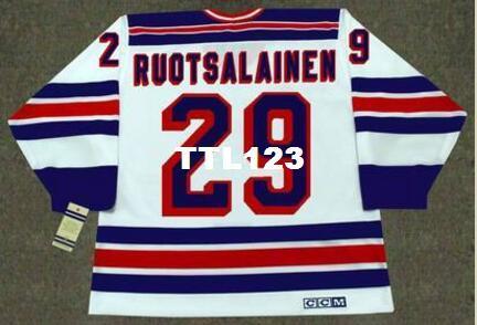 Mens # 29 REIJO RUOTSALAINEN New York Rangers 1984 CCM Weinlese-RETRO-Zuhause-Hockey-Jersey oder Gewohnheit irgendein Name oder Zahl Retro Jersey
