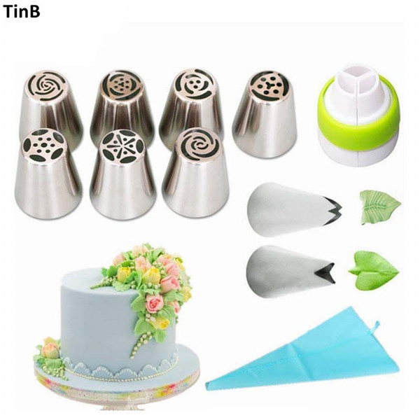 11pcs/set Russian Tulip Stainless Steel Piping Icing Nozzle for Cream Pastry Accessories Cake Cream Decoration Baking Tools Tips
