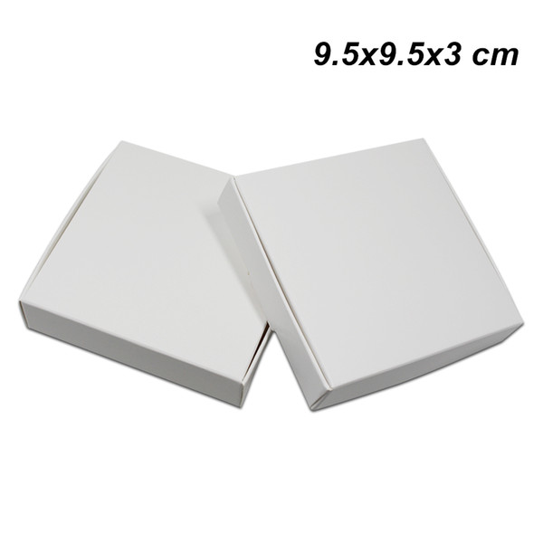 30 Pcs/lot 9.5x9.5x3 cm White Kraft Paper Packaging Box Wedding Party Gift Packing Box for DIY Handmade Soap Jewelry Chocolate Cookies Candy