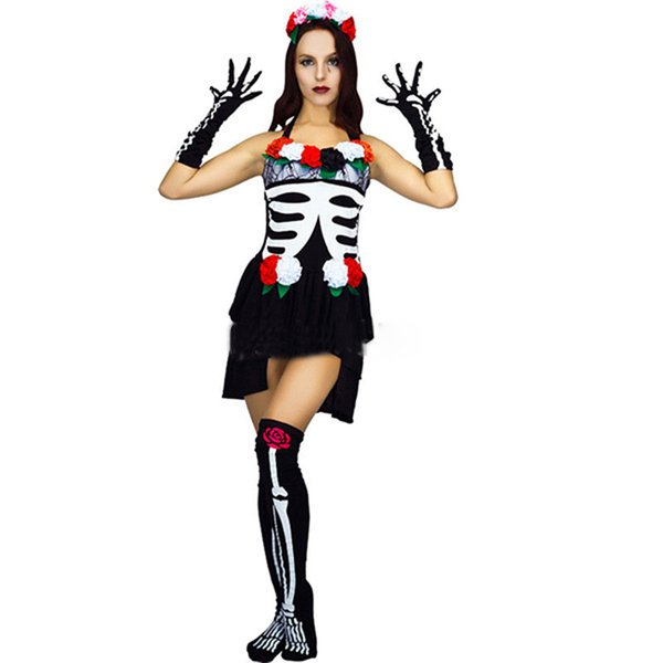 Ghost Festival Halloween cosplay costume masquerade stage party clothes horror female adult skeleton ghost bride makeup sexy fem