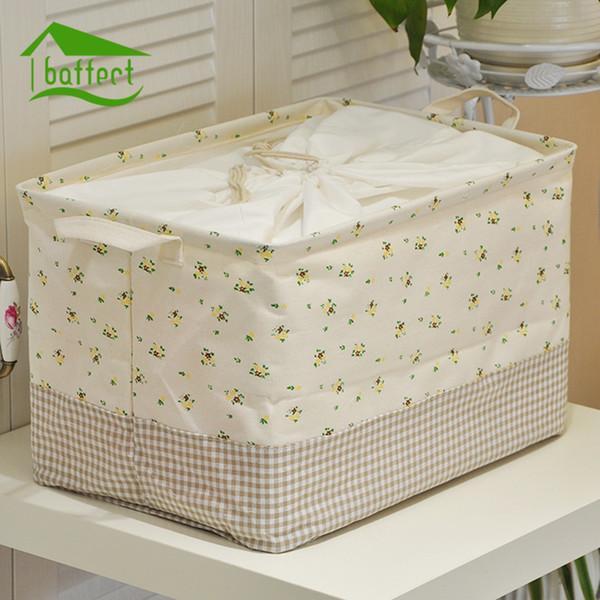 Cute Printing Cotton Linen Desktop Storage Organizer bundle Sundries Storage Box Cabinet Underwear Cloth Toy Basket