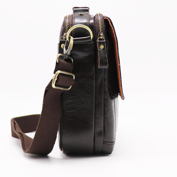 Men's Handbag Genuine Leather Messenger Bag Male Cowhide Shoulder Bags 8' Cross Body Handle Bag
