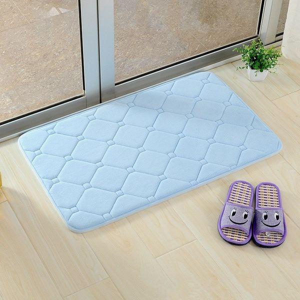 Wholesale- Solid Memory Foam Carpet For Home Room Door Decor Slip Resistant Floor Living Room Bedroom Bathroom Mat Rug 40X60cm