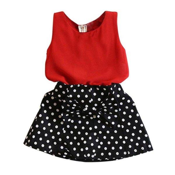 Fashion Summer Kids Baby Girl Clothing Set Sleeveless Chiffon Tops+Polka Dot Bowknot Mini Skirts X16