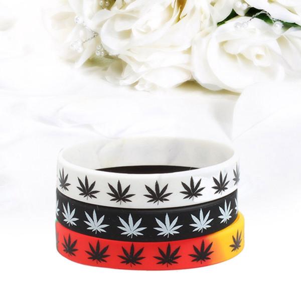 Листья мода лист печати силиконовые BraceletBangles 3 цвета черный белый цвет браслет мода ювелирные изделия браслет