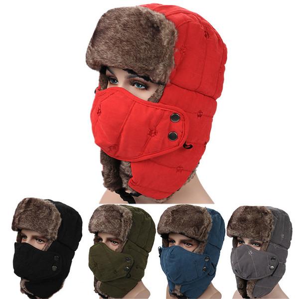 Cappelli di Trapper invernali di alta qualità solido con paraorecchie Ushanka Aviator cappello russo cappello di inverno caldo all'aperto sci sci sport antivento cap mk853