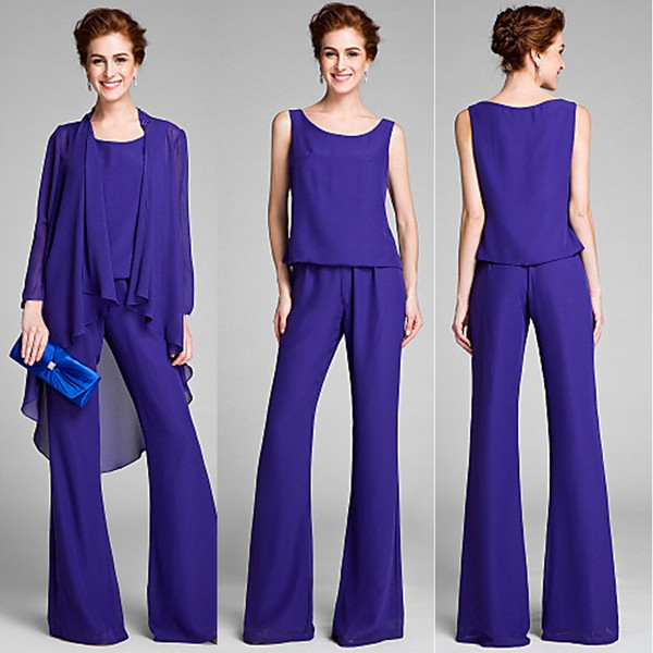 2018 Regency Three Pieces Mother of the Bride Pant Suits Long Chiffon Formal Mother of the Bridal Suits with Long Sleeves Jacket