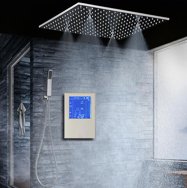 """Bathroom Shower Head with 3 Ways Intelligent Digital Concealed Faucet 20"""" SPA Mist Rainfall Thermostatic Set Touch Panel Mixer"""