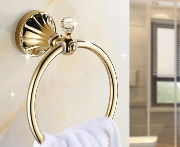 top popular Towel Holder golden crystal Stainless Steel bath towel Rings Wall Mounted Polished Bathroom Towel Holders Bath Hardware 2021