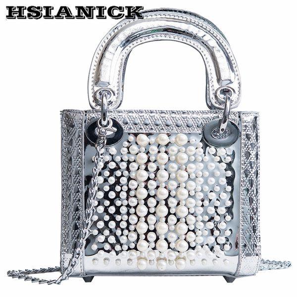 Yeni varış küçük lüks çanta kadın 2018 yeni perçinler inci tasarım omuz çantası ayna zinciri Messenger küçük kare çanta