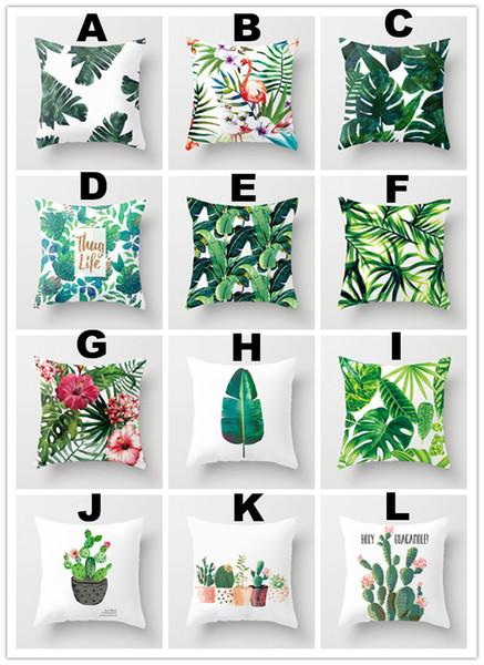 Rainforest Leaves Tropical Plants Flowers Cactus Soft Velvet Pillow Covers Bedroom Sofa Decoration Cushion Cover 40x40cm