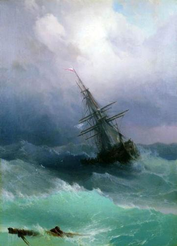 Ivan Aivazovsky - Tempest seascape waves ship High Quality Handpainted & HD Print Art oil painting,Home Decor Wall Art On Canvas l119