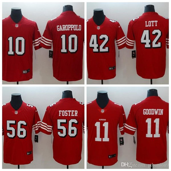 new product 01c37 06b66 2018 2018 Mens San Francisco #11 Marquise Goodwin 10 Jimmy Garoppolo 42  Ronnie Lott 56 Reuben Foster Red Short Sleeve Limited 49ers Jerseys From ...