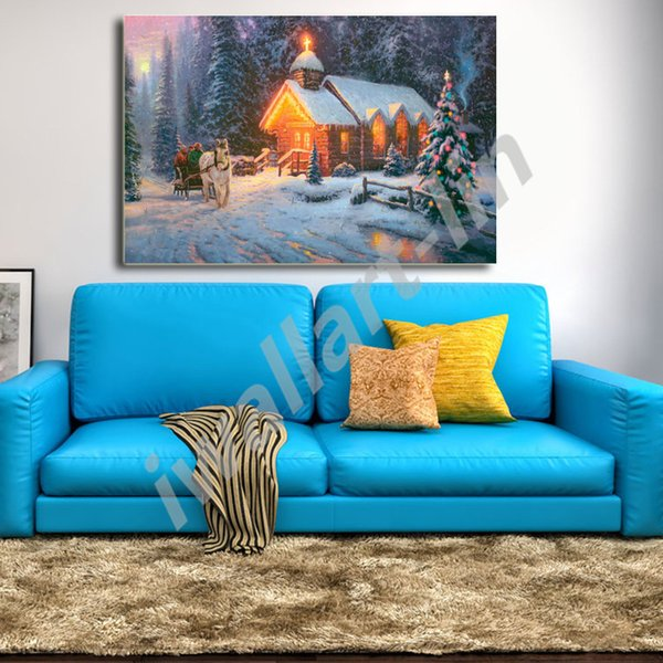 Thomas Kinkade Christmas Chapel Poster Canvas Painting Oil Framed Wall Art Print Pictures For Living Room Home Decoracion