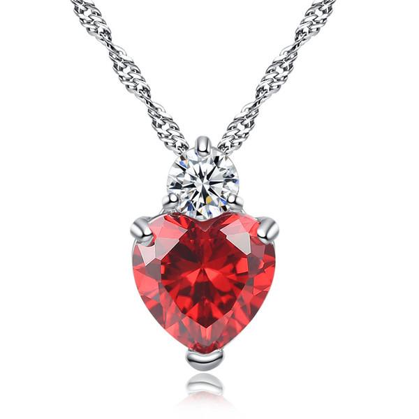 Rojo, púrpura, cristal, circón, piedra, amor, corazón, colgante, collar, moda, cuello, gargantilla, joyería, 45cm, 18