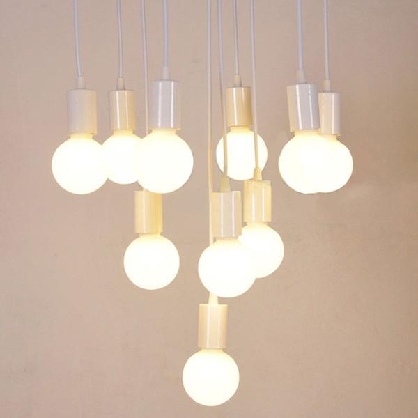Línea de lámpara E27 Luces colgantes Accesorios de iluminación DIY con lámpara blanca negra Soporte de bombilla Base de enchufe Lámpara colgante Accesorio AL131