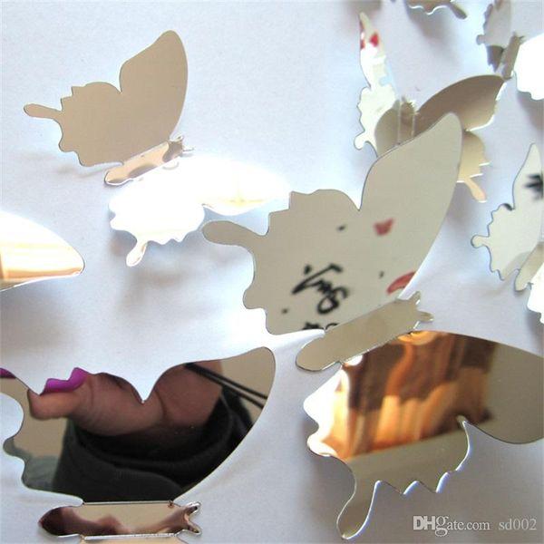 Ayna Yüzey Duvar Resimleri Üç Boyutlu Duvar Sticker 3D Yapay Kelebek Renk Çıkartmaları Simülasyon Kelebekler Ev Yaratıcı Dekor 2dj ii