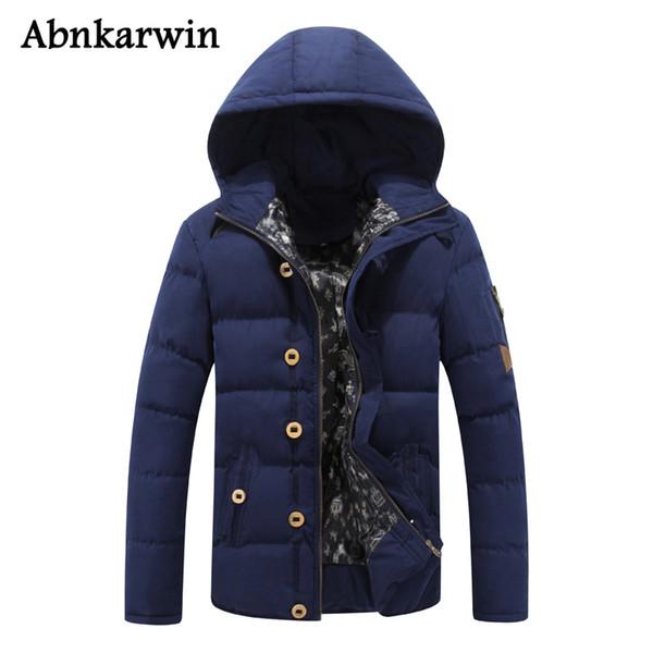 2018 chaqueta de invierno para hombre chaqueta de abrigo abrigos con capucha de algodón sólido prendas de vestir exteriores hombre ropa informal con capucha Parka Homme
