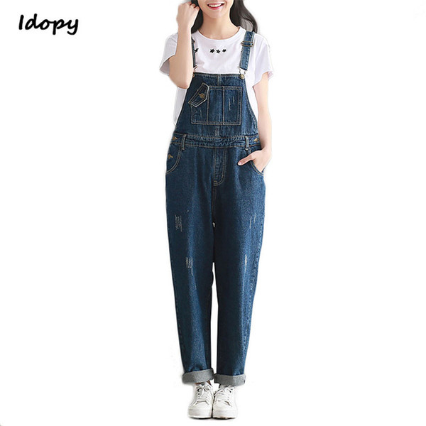Idopy Women`s Denim Jumpsuit Cute Classic Vintage Basic Loose Fit Scratched Jeans Overalls Romper Vaqueros For Female