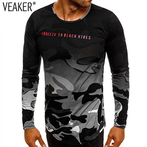2018 Autumn New Men's Camouflage Printed T Shirt Slim Fit Long Sleeve T Shirts Male Camo High Street Tshirt Tops S-3XL