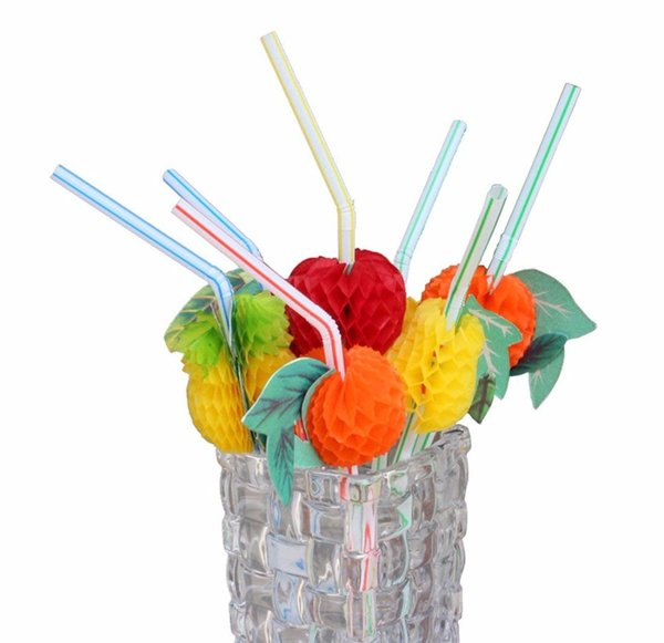 50pcs/set Bar Tools 3D Fruit Shape Straw Flexible Plastic Decor For Wedding Party Drinking Straws Cocktail Accessories