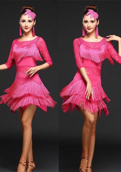 Latin Dance Dress Suits Women / Girls Sexy Fringes Long Skirt Costumes Ballroom/Tango/Rumba/Latin Dresses Clothings for Dancer