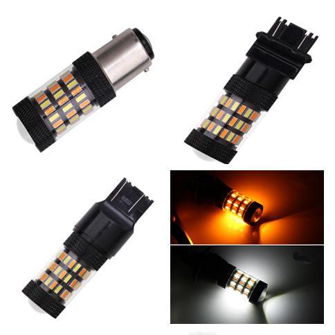 best selling 60-SMD 4014 Dual Color White   Amber 1157 3157 7443 CAR LED Daytime Running & Turn Signal bulbs brake lights DC 12V