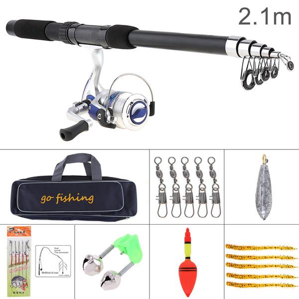 New 2.1m Fishing Rod Reel Line Combo Full Kits Spinning Reel Pole Set with Fishing Bag Soft Lures Float Hook Swivel Etc