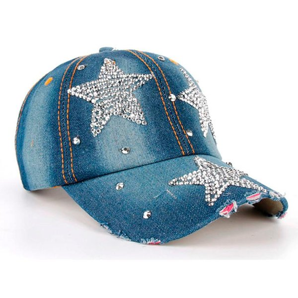 3b1dc60cdb5 1 pcs Unisex Denim Baseball Cap Fashion Rhinestone Hip Hop Hats Men Women  Adjustable Snapback Hat