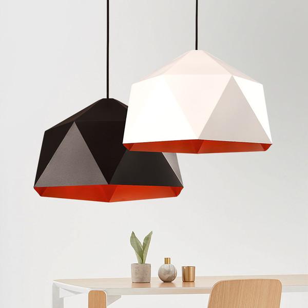 Lustre nordique abat-jour en fer pyramide pendentif lumière moderne salle à manger luminaire bar créatif géométrie décorative