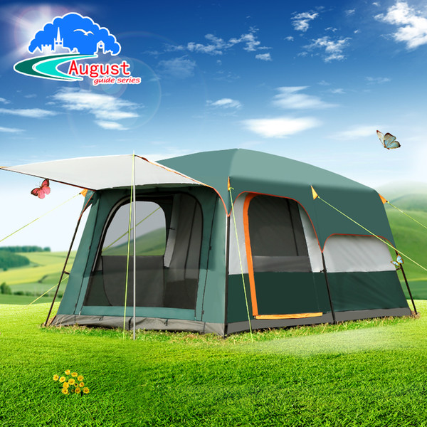 outdoor 4 6 8 double layer two bedroom family camping tent large awning big space high quality fishing tent