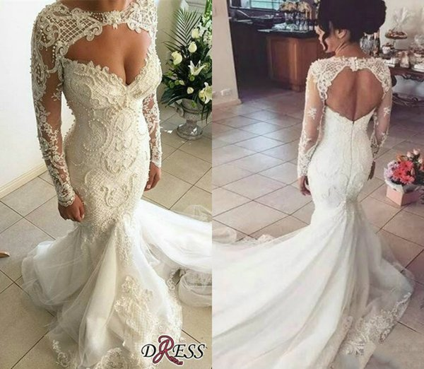 Gorgeous Sweetheart Long Sleeve Wedding Dresses 2019 Sweep Train Lace Mermaid Appliqued Beadings Country Bridal Gowns Detachable Sleeves