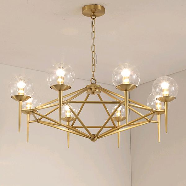 Großhandel Post Modern Kronleuchter LED Indoor Lampe Gold Metall Glas  Moderne Bar Coffee Shop Europa Wohnzimmer Decke Decorete Leuchte Von  Afantilamp, ...