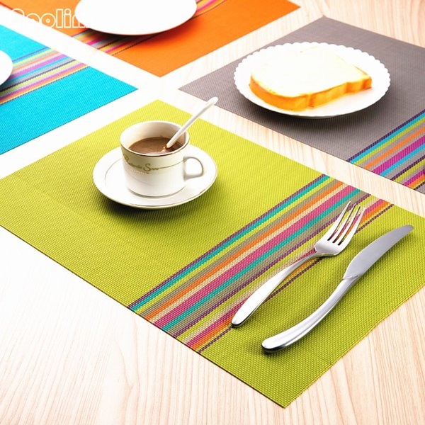 4Pcs/lot PVC Placemat Dining Table Mats Pads Bowl Pad Napkin Kitchen Dining Table Tray Cloth Coasters Waterproof Heat Resistant