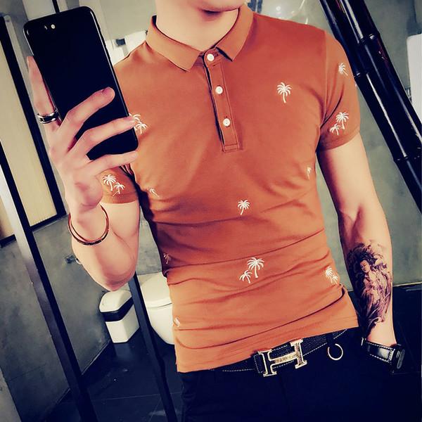 2018 été porter nouveaux style coréen version coréenne Slim Fit col polo chemise à la mode broderie T-shirt