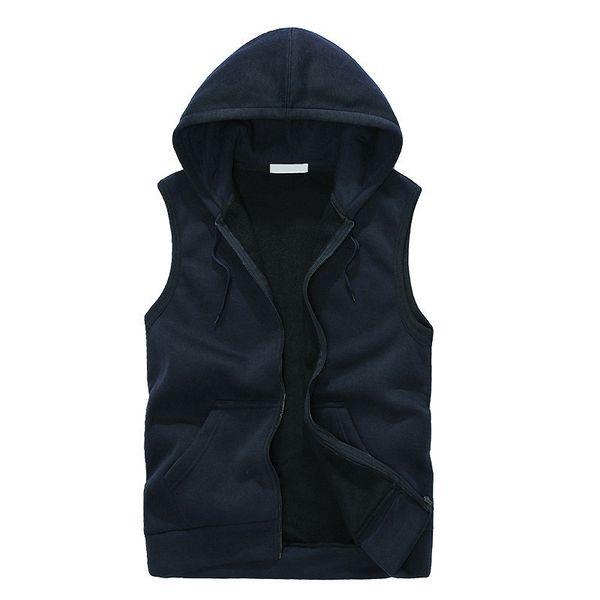 Mode Hommes Hoodies Sans Manches Gilet Casual Sweat Bleu Marine