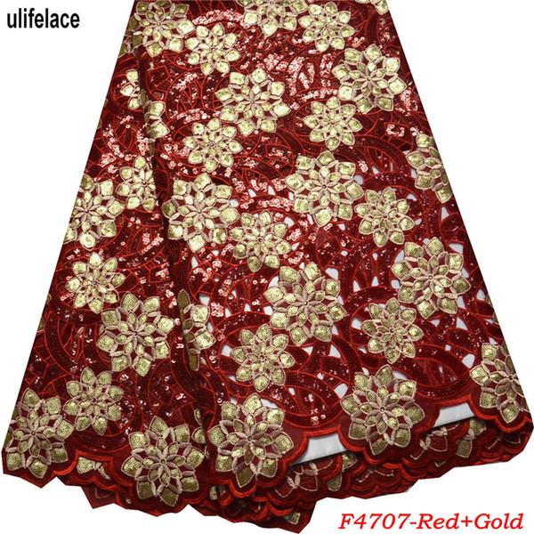 Último cordón africano de tul de alta calidad cordón de corte a mano africano para nigeriano vestido de boda de color lentejuelas tela de encaje de organza doble F4-707