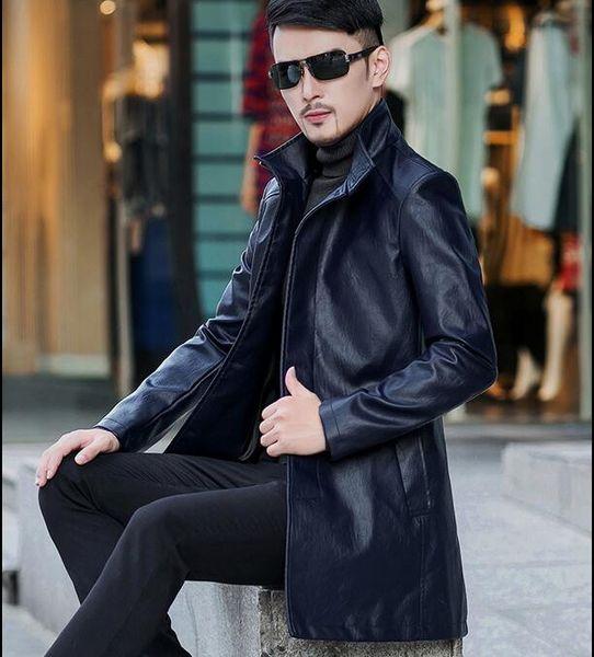 Men winter long Leather Outerwear handsome Slim Standing collar Leather jacket Business Windproof warm men Classic coat windbreaker