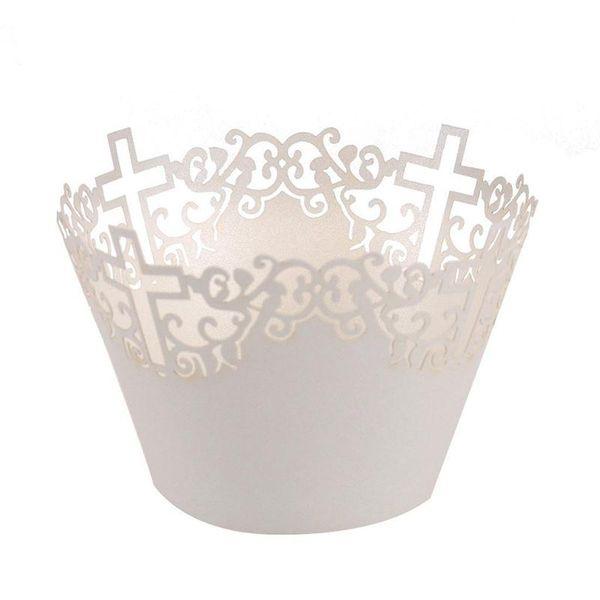 50 unids Filigrana Vine Cruz Lace Out Paper Cake Cupcake Wrappers Muffin Casos Caja de la Bandeja de Hornear Bandejas Banquete de Boda decoración