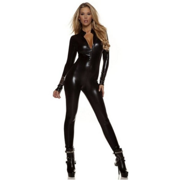 high quality Sexy Catwoman Costume HalloweenLatex Pvc suit Catsuit GameUniforms Clubwear Bodysuit Glue tights Women Zentai Suit