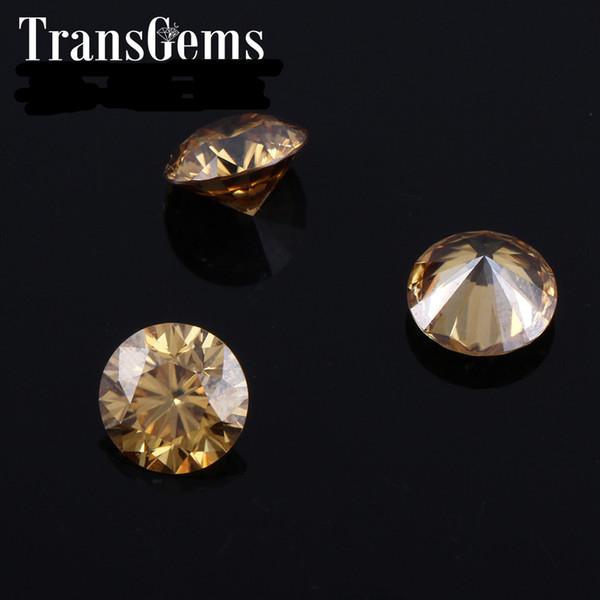 TransGems 6.5mm 1Carat Color Certified Man made Diamond Diamond Moissanite Bead Test Positivo como Real Diamond