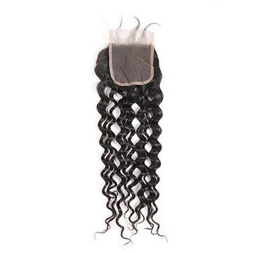 """6""""-20"""" Density 130% 4x4inch 30g Hair Piece Real Human for Girls Graceful Brazilian Lace Top Closure Lace Size Kinky Wave Hair style"""