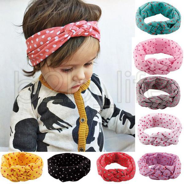 8 Colori Bambino Bambini Ragazze Wide Dot Hairband Infant Toddler Fascia Intrecciata Polka Croce Nodo Testa Wrap Treccia Accessori Per Capelli AAA630