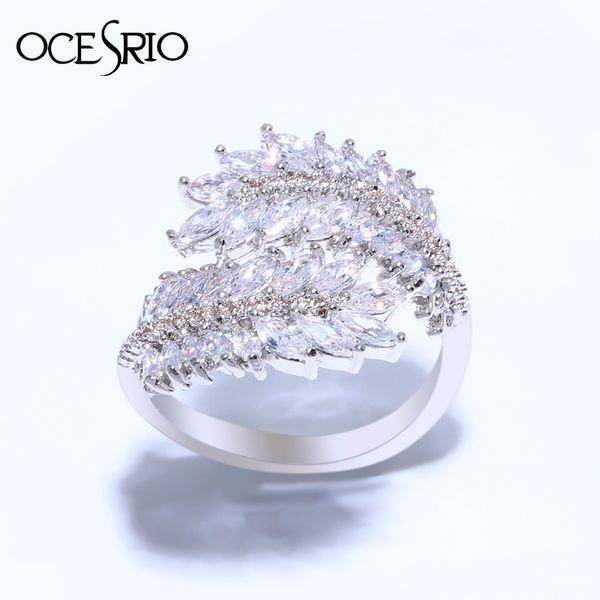 OCESRIO Luxus Olivenzweig Ring weibliche Zirkonia Sier Feder Ringe für Frauen Braut Hochzeit Engagement Schmuck rig-e89