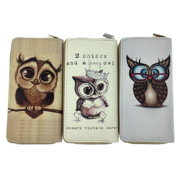 Hot! wholesale cute owls luxury brand fashion single zipper cheap luxury designer women pu leather wallet lady ladies long purse