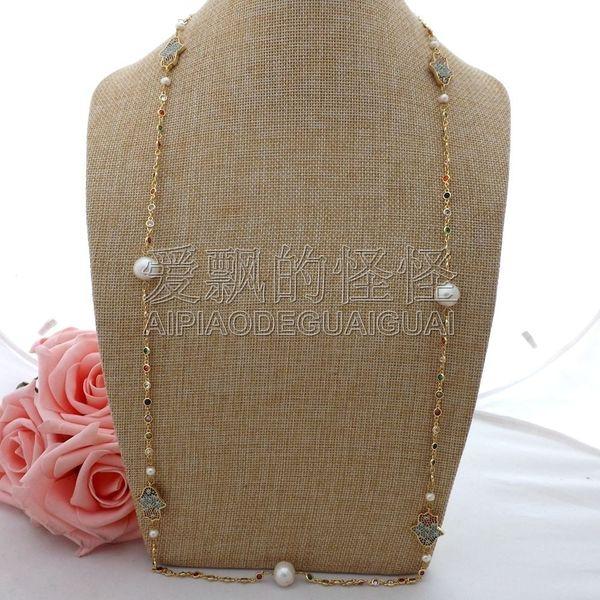 "N063002 36"" White Keshi Pearl Cz Pave Hamsa Long Chain Necklace"