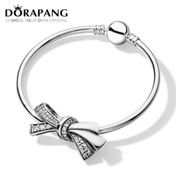 DORAPANG High Quality 2018 New 100% 925 Sterling Silver Bow Charm Bracelet Bangle Set for Mother's Day Birthday Gift DIY Jewelry