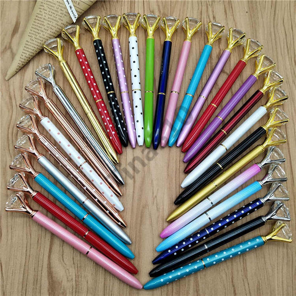 top popular Ballpoint Pen Rotating Crystal pen Ballpoint Pen With Large Diamond Fashion School Student Luxury Office Supplies 380pcs T1I961 2020