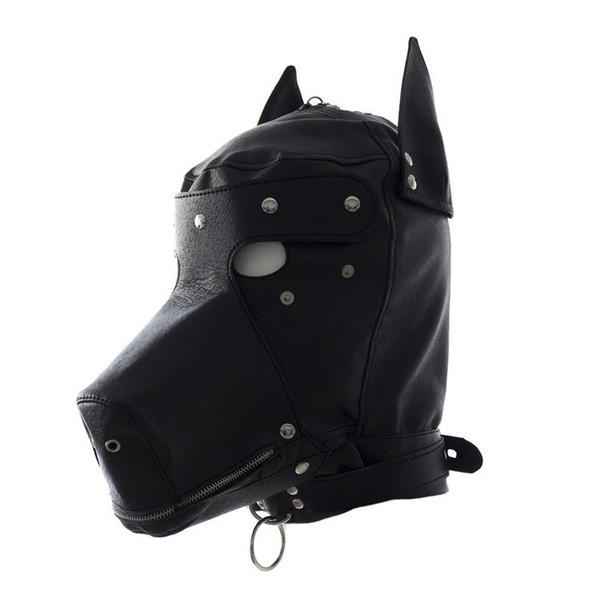 Máscara de capucha de cuero de PU, Sexy Bdsm Bondage Hook Fetish Lace-up Mouth Dog Mask Restricciones Juegos para adultos Juguetes sexuales para mujeres Parejas
