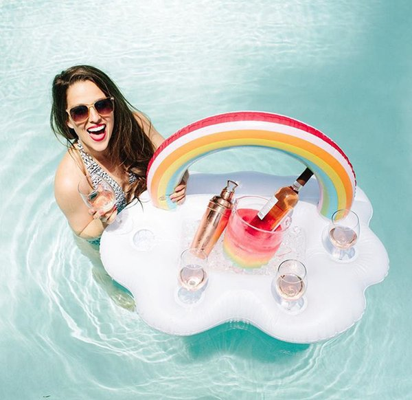 Rainbow Cloud Cup Holder Ice Bucket With 4 Hold Inflatable Mattress Table Bar Tray Pool Party Beer Drink Food Float Party Toy OOA4916
